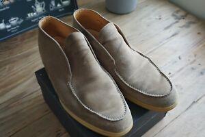 Loro Piana Calfskin Lined Sandstone Suede Open Walk Ankle Boot Sz 43