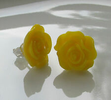 Handmade Pretty Yellow Flower Rose Fashion Stud Earrings - Great Boxed Gift Idea