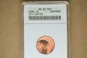 2000 Off Center Lincoln Cent- ANACS MS-65 RED.  Nice, Dramatic Error!