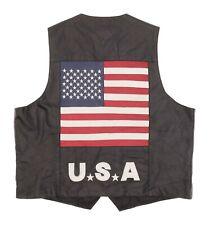 VTG Leather Motorcycle Vest 3XL XXXL Mens USA FLAG Motorcycle Jacket Biker Vest