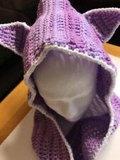 NEW Handmade USA Hooded Scarf Scoodie Wrap HOODIE PURPLE-CROCHET CAT KITTY HAT