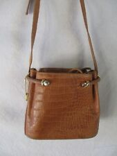 Bally authentic tan croco embossed leather drawstring bucket shoulder bag