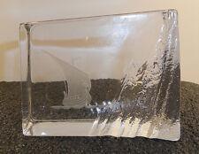 Edenfalk Skruf Sweden Viking Ship Crystal Ice Block Paperweight Signed