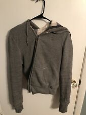 Women's Abercrombie And Fitch Size Large Gray Hoodie Sweatshirt Jacket