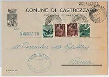 REPUBBLICA - Storia Postale: ANNULLO MUTO EMERGENZA su BUSTA da CASTREZZATO 1951