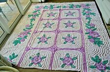 Vintage Purple Chenille Cake Frosting Floral Bedspread Quilt Fabric Piece 7'x8'