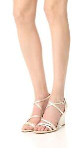 Badgley Mischka Bonanza Ivory Womens Evening Wedge High Heel Sandals 8.5 New