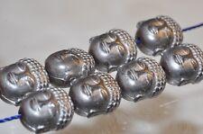 "8Pcs 9x11x8mm ""Serene""~Silver Gray HEMATITE BUDDHA HEAD Carved Charm Beads L1112"