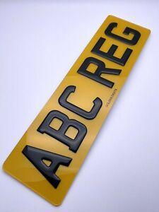 "3D GEL NUMBER PLATE RAISED DOMED GLOSS BLACK 6 DIGIT 16"" REAR SHORT ROAD LEGAL"