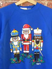 Vtg Nutcracker M Blue Sweatshirt Crewneck Shirt Christmas Holiday Raglan Usa