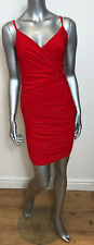 Ruched Red Wrap Size 8 Bodycon Dress DW39 New Party Christmas Slip