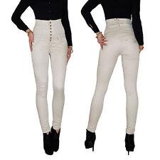 Damen High Waist Stretch Jeans Hose Röhrenjeans Röhre Corsage Hochschnitt E78