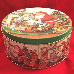Collectors Tin Xmas Santa Claus Round Empty Can Container Colorful Box Vintage
