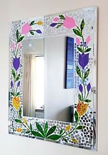 Mirror rectangular mosaic wall mirror purple pink tulip design 60cm-NEW