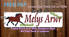 Stable door sign plaque WELSH COB printed on White Ali Metal - Personalised