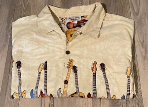 Pacific Legend Mens Hawaiian Shirt Rock & Roll Guitar Tan Cotton USA Made 3XL