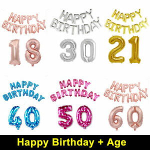 16/18/21/30/40/50/60 Self Inflating Foil Happy Birthday Balloons Banner Bunting