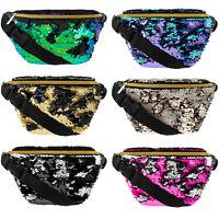 Sequin Bum Bag Travel Pouch Festival Fanny Pack Waist Belt Holiday Money Wallet
