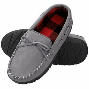 Mens Slippers with Fuzzy Plush Moccasin Homitem Slippers Wool-Like Lining