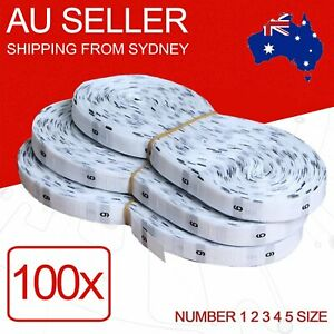 100 pack 1 2 3 4 5 Size Clothing Labels Suit White Sewing Label in Woven Tags AU