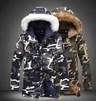 NEW Men Camouflage Fur Collar Hooded Thicken Warm Parka Outwear Long Coat Jacket