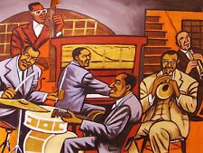 LOUIS ARMSTRONG PAINTING jazz trumpet hot five seven drums new orleans movie cd