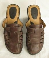 BORN BOC MULES WEDGES SLIDES SHOES STRAPPY BROWN LEATHER WOMENS SIZE 8