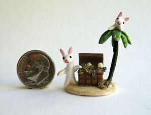 Handmade Miniature TREASURE CHEST BUNNY RABBITS FUN - OOAK C. Rohal