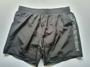 EA7 Emporio Armani Logo Swim Shorts In Black Size Medium