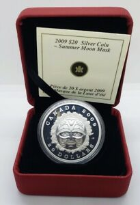 Canada 2009 $20 Summer Moon Mask Silver Proof Coin .9999