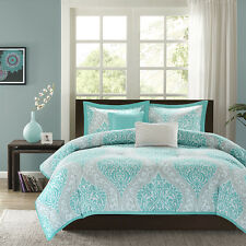 BEAUTIFUL MODERN CHIC AQUA TEAL LIGHT BLUE GREY SOFT COMFORTER SET FULL QUEEN