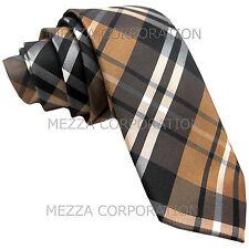 "New Men's Vesuvio Napoli plaid 2.5"" skinny Neck Tie Necktie only Wedding Brown"