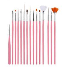 Professional 15pcs Nylon nail art brush for UV Gel dry decoration tools set Pink