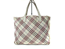 Authentic BURBERRY LONDON BLUE LABEL Nylon Canvas, Leather White, Red Tote Bag
