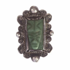 Mexican Carved Jade Mask Ring