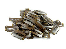 PACK OF 10 BROWN WEFT HAIR CLIPS 32mm EXTENSIONS WEFTS
