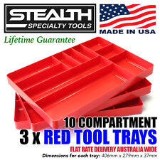 STEALTH 10 Compartment Red Tool Tray Drawer Organiser Stackable Container ERNST