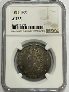 1835 CAPPED SILVER HALF DOLLAR NGC AU55 TONE LUSTER OGH 50C
