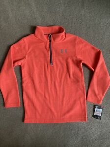 nwt under armour size 7 boys orange fleece pullover