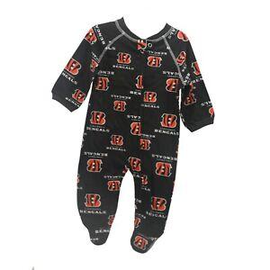 Cincinnati Bengals Official NFL Apparel Baby Infant Size Pajama Sleeper Bodysuit