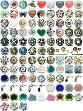Shabby chic cupboard door knobs handles drawer pulls. Vintage ceramic knobs.