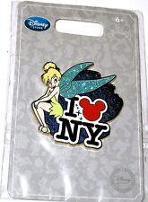 RARE Retired Disney Pin✿Tink Tinker Bell LOVE NY New York Heart Mickey Head °o°