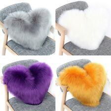 Solid Heart Pillow Faux Wool Fur Fluffy Warm Throw Pillow Sofa Bed Cushion