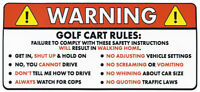 Golf Cart Rules Funny WARNING Sticker for Passengers Put on Cart Garage Shed