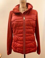 Women's red shape Puff Jacket coat lined Warm/Wind Reflector Thumb Everlast Sz L