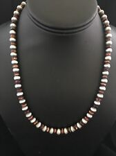 Native American Sterling Silver  Purple Spiny Oyster Bead Necklace 18 Inches