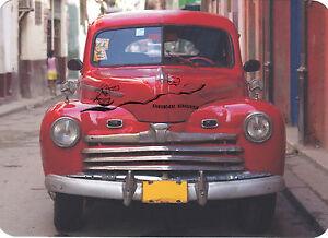 Kunstpostkarte -  Roter Oldtimer - Karte mit abgerundete Ecken