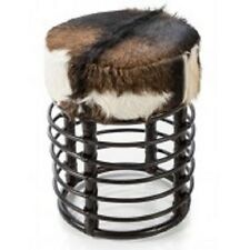 RATTAN ROUND STOOL WITH GOAT HIDE - 35 W X 35 D X 47 H