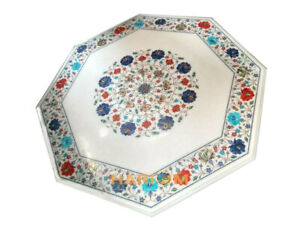 """28"""" Octagon Marble Multi Marquetry Coffee Top Table Inlay Collectible Decor W037"""