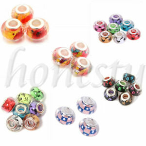 10pcs Lots 14x9mm Resin Big Hole Rondelle Spacer Beads Fit European Charm